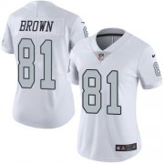 Wholesale Cheap Nike Raiders #81 Tim Brown White Women's Stitched NFL Limited Rush Jersey