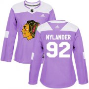 Wholesale Cheap Adidas Blackhawks #92 Alexander Nylander Purple Authentic Fights Cancer Women's Stitched NHL Jersey