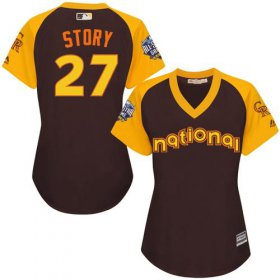 Wholesale Cheap Rockies #27 Trevor Story Brown 2016 All-Star National League Women\'s Stitched MLB Jersey