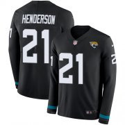 Wholesale Cheap Nike Jaguars #21 C.J. Henderson Black Team Color Youth Stitched NFL Limited Therma Long Sleeve Jersey