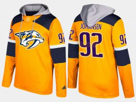 Wholesale Cheap Predators #92 Ryan Johansen Yellow Name And Number Hoodie