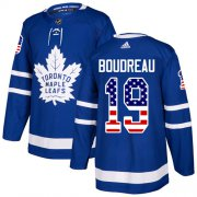 Wholesale Cheap Adidas Maple Leafs #19 Bruce Boudreau Blue Home Authentic USA Flag Stitched NHL Jersey