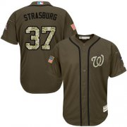 Wholesale Cheap Nationals #37 Stephen Strasburg Green Salute to Service Stitched MLB Jersey