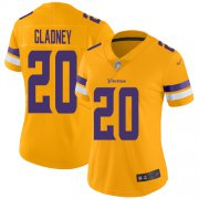 Wholesale Cheap Nike Vikings #20 Jeff Gladney Gold Women's Stitched NFL Limited Inverted Legend Jersey