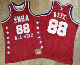 Wholesale Cheap 1988 All-Star AAPE x MITCHELL & NESS Red Jersey