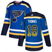 Wholesale Cheap Adidas Blues #18 Robert Thomas Blue Home Authentic Drift Fashion Stitched NHL Jersey