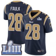 Wholesale Cheap Nike Rams #28 Marshall Faulk Navy Blue Team Color Super Bowl LIII Bound Men's Stitched NFL Vapor Untouchable Limited Jersey