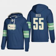 Wholesale Cheap Vancouver Canucks #55 Alex Biega Blue adidas Lace-Up Pullover Hoodie