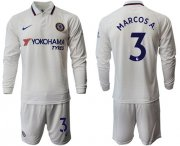 Wholesale Cheap Chelsea #3 Marcos A. Away Long Sleeves Soccer Club Jersey