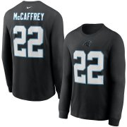 Wholesale Cheap Carolina Panthers #22 Christian McCaffrey Nike Player Name & Number Long Sleeve T-Shirt Black