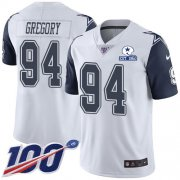 Wholesale Cheap Nike Cowboys #94 Randy Gregory White Men's Stitched With Established In 1960 Patch NFL Limited Rush 100th Season Jersey