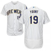 Wholesale Cheap Brewers #19 Robin Yount White Strip Flexbase Authentic Collection Stitched MLB Jersey