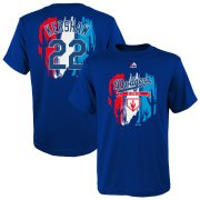 Wholesale Cheap Los Angeles Dodgers #22 Clayton Kershaw Majestic Youth 2019 Spring Training Name & Number V-Neck T-Shirt Royal