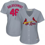 Wholesale Cheap Cardinals #46 Paul Goldschmidt Grey Road Women's Stitched MLB Jersey
