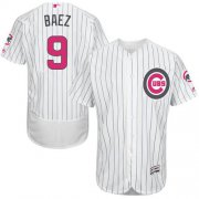 Wholesale Cheap Cubs #9 Javier Baez White(Blue Strip) Flexbase Authentic Collection Mother's Day Stitched MLB Jersey