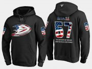 Wholesale Cheap Ducks #67 Rickard Rakell NHL Banner Wave Usa Flag Black Hoodie