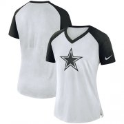 Wholesale Cheap Women's Dallas Cowboys Nike White-Navy Top V-Neck T-Shirt