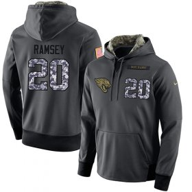 Wholesale Cheap NFL Men\'s Nike Jacksonville Jaguars #20 Jalen Ramsey Stitched Black Anthracite Salute to Service Player Performance Hoodie