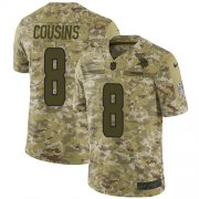 Wholesale Cheap Nike Vikings #8 Kirk Cousins Camo Youth Stitched NFL Limited 2018 Salute to Service Jersey