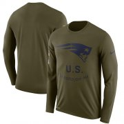Wholesale Cheap Men's New England Patriots Nike Olive Salute to Service Sideline Legend Performance Long Sleeve T-Shirt