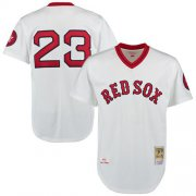 Wholesale Cheap Mitchell And Ness 1975 Red Sox #23 Luis Tiant White Throwback Stitched MLB Jersey