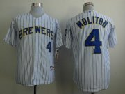 Wholesale Cheap Brewers #4 Paul Molitor White (Blue Strip) Stitched MLB Jersey