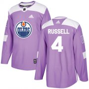 Wholesale Cheap Adidas Oilers #4 Kris Russell Purple Authentic Fights Cancer Stitched NHL Jersey