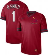 Wholesale Cheap Nike Cardinals #1 Ozzie Smith Red Authentic Cooperstown Collection Stitched MLB Jersey
