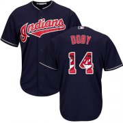 Wholesale Cheap Indians #14 Larry Doby Navy Blue Team Logo Fashion Stitched MLB Jersey