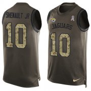 Wholesale Cheap Nike Jaguars #10 Laviska Shenault Jr. Green Men's Stitched NFL Limited Salute To Service Tank Top Jersey