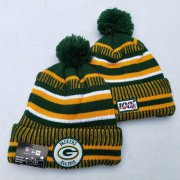 Wholesale Cheap Packers Team Logo Green Yellow 100th Season Pom Knit Hat YD