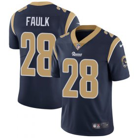 Wholesale Cheap Nike Rams #28 Marshall Faulk Navy Blue Team Color Men\'s Stitched NFL Vapor Untouchable Limited Jersey