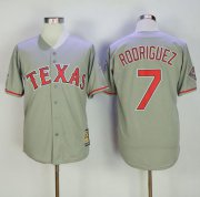 Wholesale Cheap Mitchell And Ness Rangers #7 Ivan Rodriguez Grey Throwback Stitched MLB Jersey