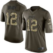 Wholesale Cheap Nike Patriots #12 Tom Brady Green Youth Stitched NFL Limited 2015 Salute to Service Jersey