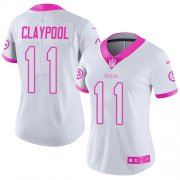 Wholesale Cheap Nike Steelers #11 Chase Claypool White/Pink Women's Stitched NFL Limited Rush Fashion Jersey