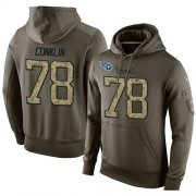 Wholesale Cheap NFL Men's Nike Tennessee Titans #78 Jack Conklin Stitched Green Olive Salute To Service KO Performance Hoodie