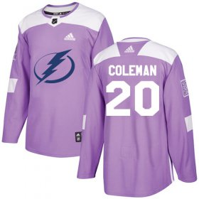 Cheap Adidas Lightning #20 Blake Coleman Purple Authentic Fights Cancer Youth Stitched NHL Jersey