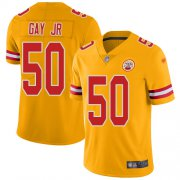 Wholesale Cheap Nike Chiefs #50 Willie Gay Jr. Gold Youth Stitched NFL Limited Inverted Legend Jersey