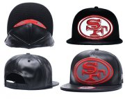 Wholesale Cheap NFL San Francisco 49ers Team Logo Black Reflective Adjustable Hat A25