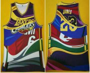 Wholesale Cheap Men's Los Angeles Lakers #23 Lebron James Multi Color Swingman Printed NBA Jersey