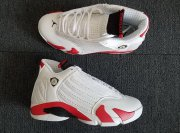 Wholesale Cheap Women's Air Jordan 14 candy cane Shoes White/Red-Black