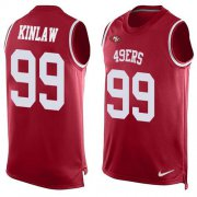 Wholesale Cheap Nike 49ers #99 Javon Kinlaw Red Team Color Men's Stitched NFL Limited Tank Top Jersey