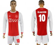Wholesale Cheap Ajax #10 Klaassen Home Long Sleeves Soccer Club Jersey