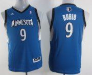 Cheap Minnesota Timberwolves #9 Ricky Rubio Blue Kids Jersey