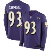 Wholesale Cheap Nike Ravens #93 Calais Campbell Purple Team Color Men's Stitched NFL Limited Therma Long Sleeve Jersey