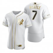 Wholesale Cheap New York Yankees #7 Mickey Mantle White Nike Men's Authentic Golden Edition MLB Jersey