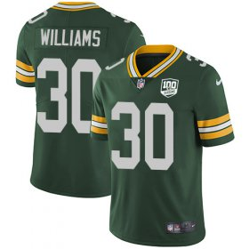 Wholesale Cheap Nike Packers #30 Jamaal Williams Green Team Color Men\'s 100th Season Stitched NFL Vapor Untouchable Limited Jersey