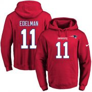 Wholesale Cheap Nike Patriots #11 Julian Edelman Red Name & Number Pullover NFL Hoodie