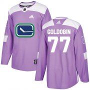 Wholesale Cheap Adidas Canucks #77 Nikolay Goldobin Purple Authentic Fights Cancer Youth Stitched NHL Jersey