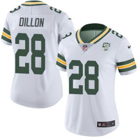 Wholesale Cheap Nike Packers #28 AJ Dillon White Women\'s 100th Season Stitched NFL Vapor Untouchable Limited Jersey